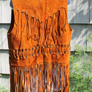 Vintage Jackets & Coats - Vintage Golden Brown Leather Fringe Western Vest